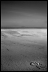 Luck In The Sand (Dave Hayward) Tags: sea blackandwhite horse art sand artistic space bare somerset horseshoe openspace westonsupermare brean blackandwhiteart davehayward