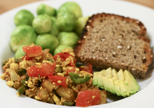 Tofu Scramble with Brussels Sprouts, No Knead Bread and Avocado