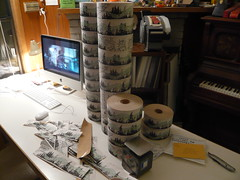 "PREPARING ""WATER ACTIVATED ALPINE THEMED PACKING TAPE #2 (WIND)"" (Mount Eerie) Tags: watchingamovie signingandnumbering preparingartformuseumsandgalleries"
