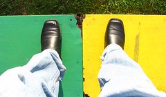 standing on green AND yellow 86/365 (tharrin) Tags: newzealand selfportrait green grass yellow multicoloured boxes roulette 365 plywood fgr 365days d08 sooc apairofthings 365i sx10is 365dec08 tharrin standingonstuff
