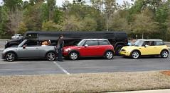 Measuring a Hummer Limo. . .using MINIs (aluvendale) Tags: cars sunshine club mini s cooper area jacksonville meet automobiles minis motoring jamm motorists