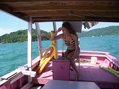 Me manning our private pink boat on the oceans of Paraty!