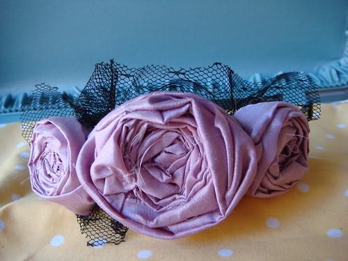 lavendar silk fancy rosettes