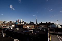 Toronto Nostalgia (Lyndsay Jobe) Tags: city toronto skyline chinatown cityscape cntower angle parkinggarage wide kensington banks