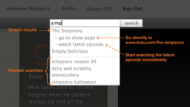 Hulu search shortcuts