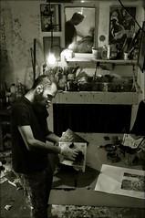 Manuel at Work (Mayastar) Tags: artist milano ladolcevita workshop lambrate laboratorio mayastar manuelfelisi