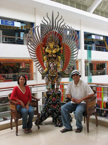 posing with the Garuda
