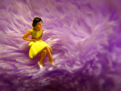 Shrinking Violet (JD Hancock) Tags: favorite macro scale catchycolors fun miniature furry dress purple little fuzzy small violet saturday explore cc tiny figure ho 1k hoscale veryinteresting yellowdress catchycolorspurple nogeo littledudes inkitchen cmwd cmwdpurple perfectpurplesaturdays jdhancock