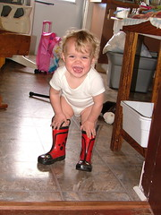 toddler in boots