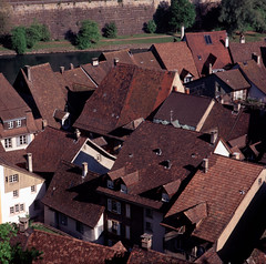 Roofs (schoeband) Tags: 120 6x6 film mediumformat schweiz switzerland suisse roofs svizzera aargau pentaconsixtl laufenburg