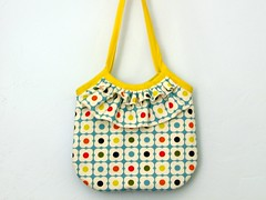 Orla Purse (kristenaderrick) Tags: flowers blue bag diy handmade sewing purse ruffle dishtowel orlakiely yellowbiastapetrim