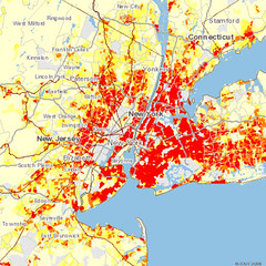 red areas emit the most CO2 per acre from driving (by: CNT)