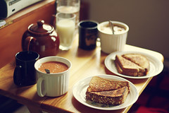 dinner for two on a rainy day (Simply Stardust) Tags: light water dinner bread table soup milk cozy couple warm leo tea small xbox rainy teapot sandwiches grilledcheese capricorn fortwo lunchfordinner snugglinguponarainyday