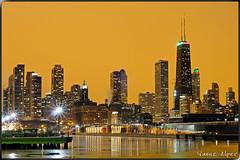The Color of the Night (Yavuz Alper) Tags: winter brown chicago cold color yellow skyline night 50mm frozen illinois nikon downtown lakemichigan navypier f18 kar hancocktower gece lonexposure soğuk kış d90 şikago