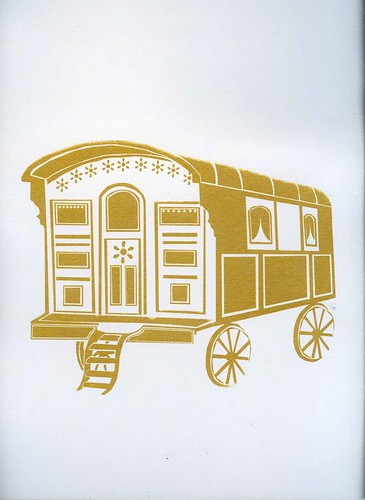 gold caravan screen print