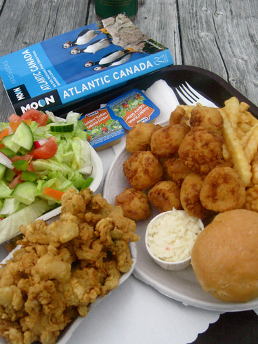 fried scallops and clams from the fundy take-out