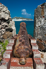 Fort Amsterdam in Philipsburg St. Maarten (Fabi Fliervoet) Tags: pictures sea seascape history beach monument water amsterdam sport vertical sailboat landscape outdoors island photography bay harbor town saintmartin day sailing photos yacht fort military hill stock cruising nopeople landmark stmartin historic cruiseship cannon tropical inlet caribbean stmaarten protection phillipsburg antilles sintmaarten netherlandsantilles philipsburg moored saintmaarten traveldestinations leisureactivity lesserantilles physicalgeography nauticalvessel coastalfeature philipsburgh dutchstmartin fabifliervoet