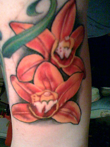 orchid tattoo · cymbidium orchid · slave to the needle