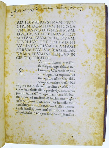 Manuscript inscription in Bagellardus, Paolus: De infantium aegritudinibus et remediis