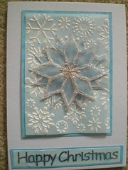 Blue Velum star on parchment CB bg on pale blue (Gregelope) Tags: christmas winter snow colour beautiful silver cards frost handmade parchment craftsmanship papercraft embossing craftwork cuttlebug