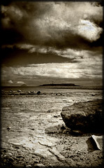 Seal Shore (Uncle Berty) Tags: uk sea england bw lighthouse white black beach scotland seal shore craig ailsa berty brill bucks isle arran hdr smalls pladda hp18 robfurminger