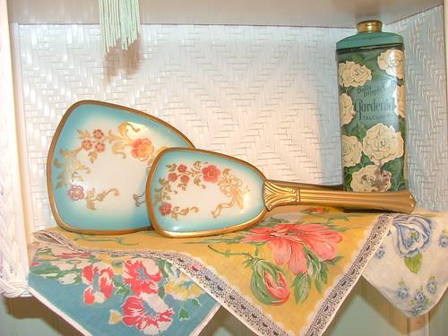 Guest Bath Update: Vintage Handkerchiefs Line Wicker Wall Shelf