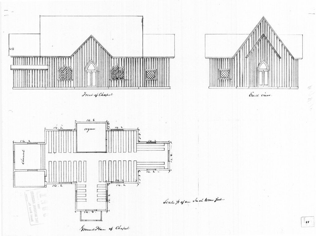 Governor's Island, NY Chapel of St Cornelius the Centurion elevations and floor plan
