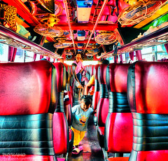 On the bus (Pkamo@Tai) Tags: trip travel red hot bus colors thailand kid interesting colorful tour place seat fave thai wat 2009 puy chonburi  bangsan  mywinners puykamo puykamophotos