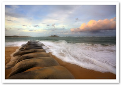 River Groyne-2649-51 (Barbara J H) Tags: ocean sea waves australia qld groyne hdr sunshinecoast sandbags rivermouth cottontree maroochydore photomatix maroochyriver barbarajh auselite rivrmouth vosplusbellesphotos pincushionrock rivergroyne