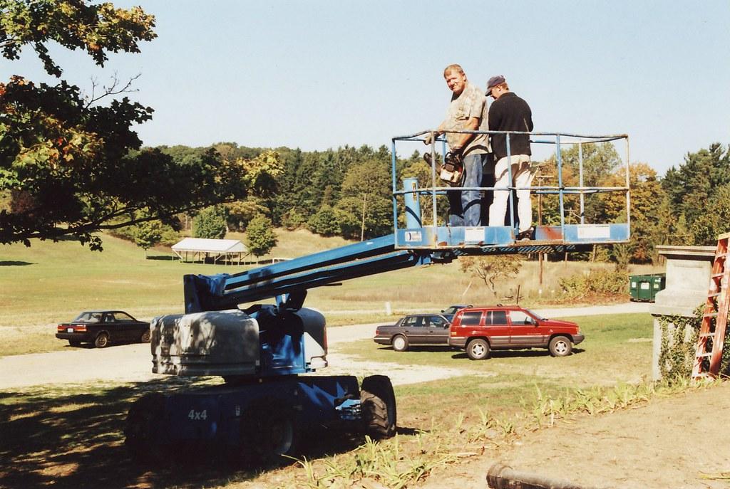 Dad On A Tree Bucket Truck Lift - Felt Mansion Volunteer - Saugatuck, Michigan - 2003