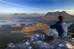 The view from Stac Pollaidh (freeskiing) Tags: blue winter sunrise scotland highlands rocks frost december heather explore highland loch sutherland westcoast ullapool stacpollaidh suilven culmor inverpolly highlandsofscotland ndgrad09 benthorburn westhighlandsgeopark