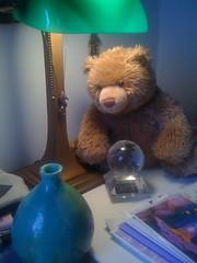 New Bear Gazes the Crystal Ball (juneatkinstudio) Tags: shozu whimsy teddybear crystalball newbear juneatkinstudio