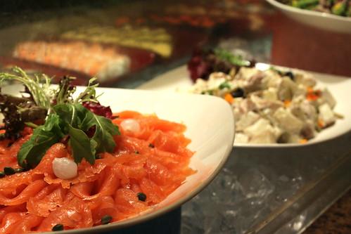 Smoked salmon and cold salads
