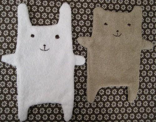bunny + bear towels