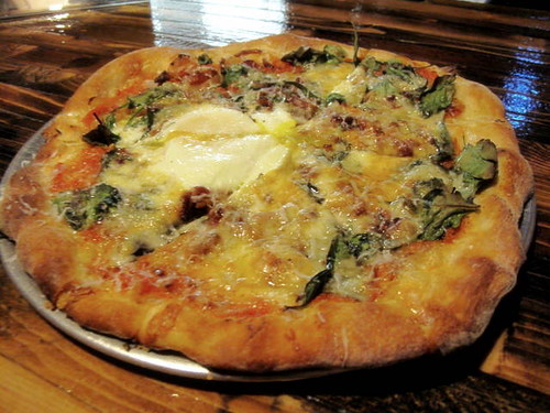 Egg and Bacon Pizza at Blind Lady Alehouse in San Diego