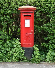 George the Fifth post/mail box, on Jepp's Lane, Barton, near Preston. (JohnnyEnglish) Tags: uk red england mailbox iron post mail lancashire castiron letter postbox preston barton pillarbox georgev