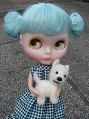 Scout with her puppy Wesley. (blythe stole my heart) Tags: audrey canton samara rupa playdate iveta blythemeet baltimore20090502