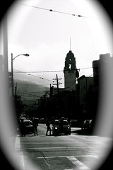 Evening Fog Rolling in the Mission DIstrict (Pixelboy H28) Tags: sf sanfrancisco ca bw usa cali fog canon eos evening spring bayarea missiondistrict effect vignette 2009 abigfave canon5dmkii 5dmkii canon241054liiusm
