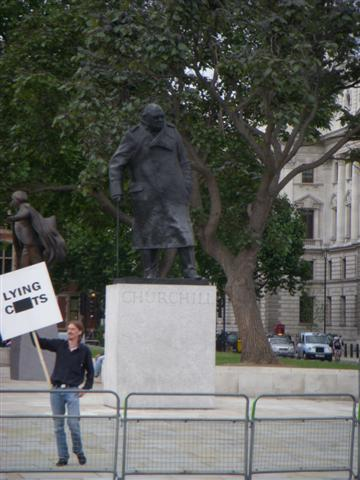One man protest in London