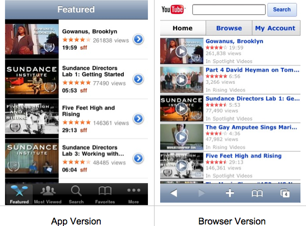 YouTube browser vs. app version