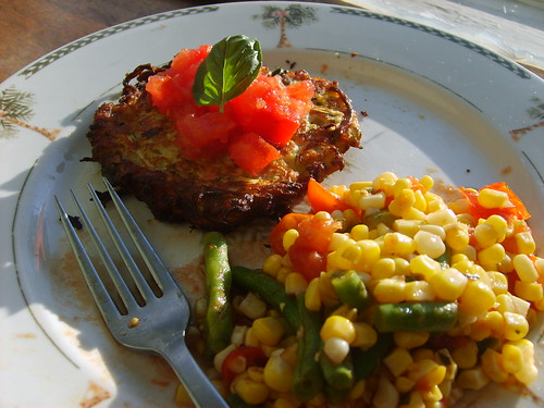 Zucchini pancakes and balsamic corn salad