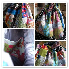 Patchwork bag 2 (NotYetTheDodo) Tags: bag idea fdsflickrtoys colorful handmade linen sewing colourful pocket patchwork lining elastic owndesign coulour