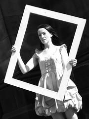 she's been framed 1 (byronv2) Tags: portrait blackandwhite bw woman girl monochrome beautiful festival blackwhite edinburgh fringe frame royalmile oldtown edinburghfestival