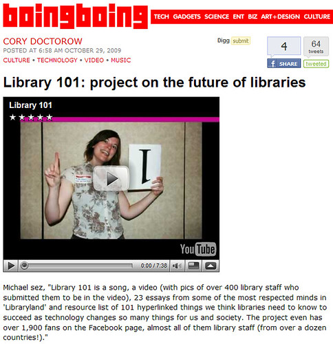 Library 101 Made It To Boing Boing!!!