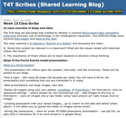 T4T Scribes (Shared Learning Blog): Week 13 Class Scribe