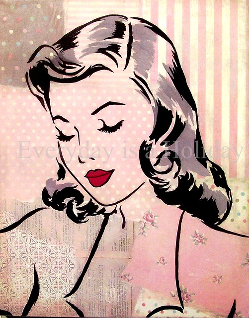 """Gorgeous Gal"" pink (original collage/painting by Everyday is a Holiday)"