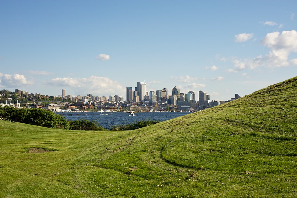 Seattle Skyline across Lake Union from Gas Works Park