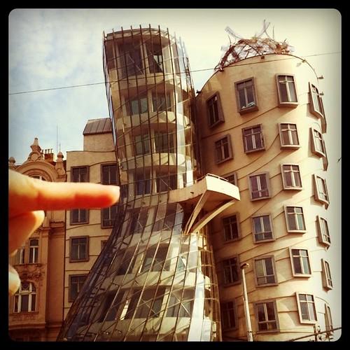 Pushing in The Dancing Building. #Prague
