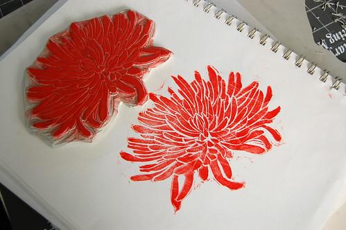 hand carved spider mum stamp