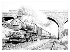 GREAT WESTERN SUMMER (Norfolkboy1) Tags: england pen ink bucks stipple rapidograph pointillism gwr steamlocomotive 460 gerrardscross originaldrawing kingclass kingjamesi no6011 panthonybromage